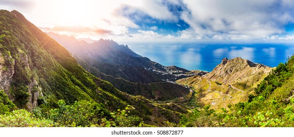 Beautiful landscape view on the ocean and rocky coastline on the sunset near Taganana village in northeastern part of Tenerife island, Spain