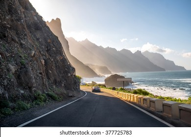 Beautiful landscape view on the road and rocky coastline near Taganana village in northeastern part of Tenerife island, Spain
