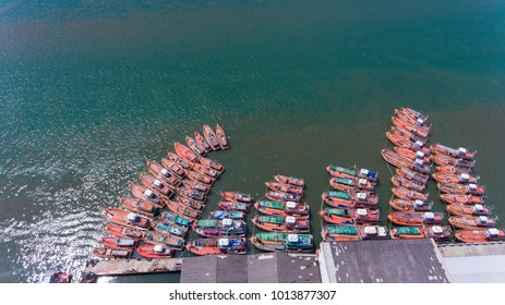 beautiful landscape view over ocean and boats. Aerial view
