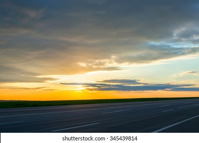 Beautiful landscape view of the road at dusk
