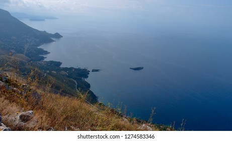 Beautiful landscape with a view of the rugged coastline and the sea, smoothly turning into the sky from the top of the mountain, Maratea, Basilicata, Potenza, Italy