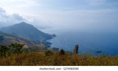 Beautiful landscape with a view of the sea and the rugged coastline of the mountain peak, Maratea, Basilicata, Potenza, Italy