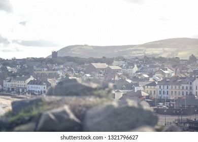 Beautiful landscape view of seaside town of Peel from Peel Castle in the Isle of Man