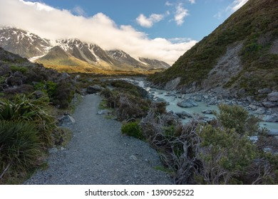 Beautiful landscape view of snowcapped  Southern Alps mountains at Hooker Valley, Aoraki/Mount Cook National Park, South Island of New Zealand.Tourist popular hiking attraction/destination.