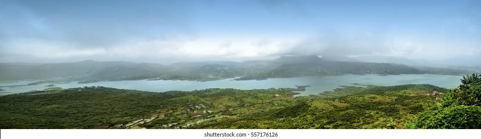 Beautiful Landscape, View from Tunga fort, Pawna Lake, Lonavala