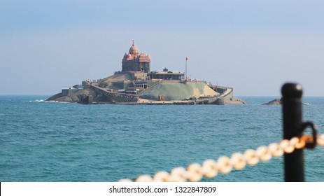 beautiful landscape view of Vivekananda Rock, Kanyakumari from the sea shore with a foreground