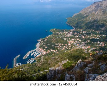 Beautiful landscape with views of the blue sea, cliffs, the port and the small town of Maratea from the top of the mountain, Basilicata, Potenza, Italy