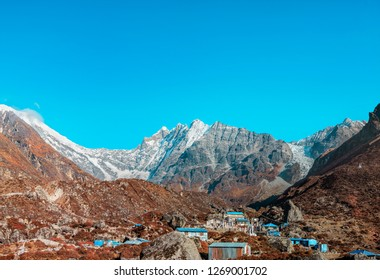 Beautiful landscape of the village Kyanjin Gompa with the Langtang Lirung glacier in the background