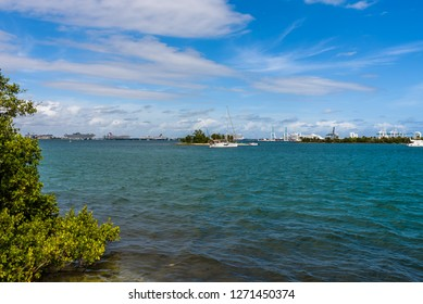 Beautiful landscape from Virginia Key of Luijo Island, South Channel and the Miami Downtown skyline. Blue sea and tropical islands.