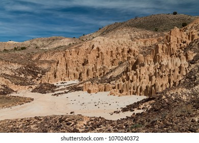 Beautiful landscape of the volcanic bentonite clay formations at Cathedral Gorge State Park in Nevada, USA.
