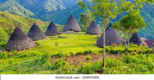Beautiful Landscape of Wae Rebo Manggaraian village, with mountain scenery.