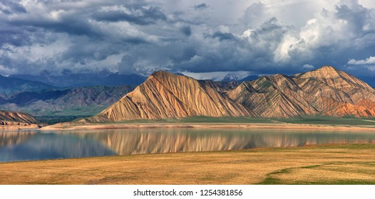 Beautiful landscape with water and mountains at Kyrgyzstan