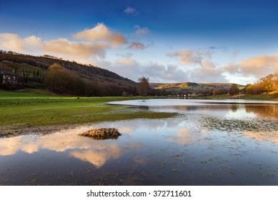 Beautiful landscape with water reflection taken at Mytholmroyd, West Yorkshire, UK.