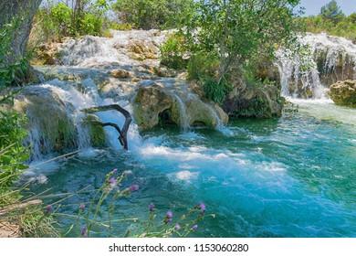 Beautiful landscape with waterfalls. National Park Lagunas de Ruidera. Castilla la Mancha. Spain.