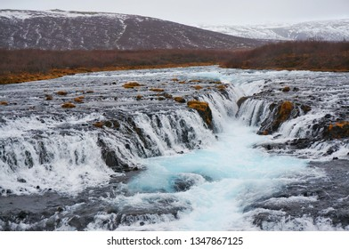 Beautiful landscape of waterfalls with  valleys background in Iceland