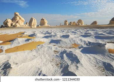 Beautiful landscape in Western White desert at sunset, Sahara. Egypt