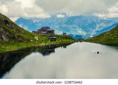 Beautiful landscape with Wildsee Lake ( Wildseelodersee ) and  the Wildseeloderhaus, mountain refuge hut, above Fieberbrunn in the Kitzbuhel Alps, Tirol, Austria