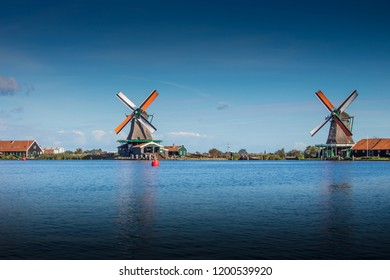 Beautiful landscape with windmills in Holland