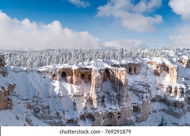 Beautiful Landscape, Winter scenery at Bryce Canyon National Park, Utah, USA. Hoodoos are tall skinny spires of rock that commonly found here. Postcard design idea.
