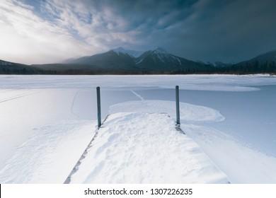 The beautiful landscape and winter scenics of Vermillion Lake and Mt. Rundle in Banff Alberta Canada.