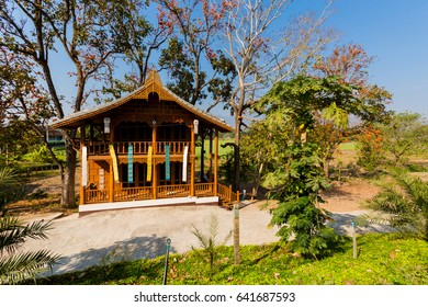 Beautiful landscape with wooden building taken close to touristic Pai village in north Thailand. Mountain village view in south east Asia.