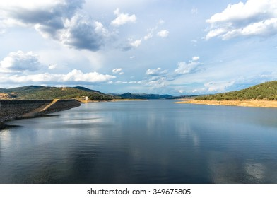 Beautiful landscape of Wyangala Dam 95% full. Dramatic sky above. Wyangala  State waters park, NSW, Australia
