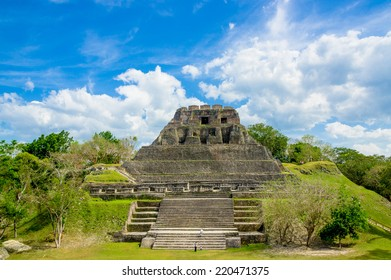 beautiful landscape of xunantunich maya site ruins in belize caribbean