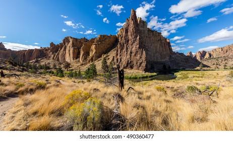 Beautiful landscape of yellow sharp cliffs.  Smith Rock state park, Oregon