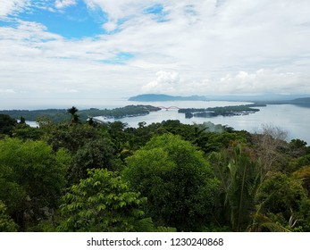 Beautiful landscape of Youtefa Bay in Jayapura, Papua, Indonesia seen from Jokowi Hill.