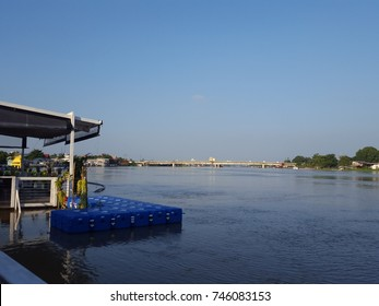 Beautiful landscape.Beautiful nature of  bright blue sky with some shaped clouds, View of the Chao Phraya River.