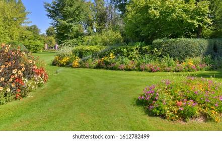 beautiful landscaped garden   in summer