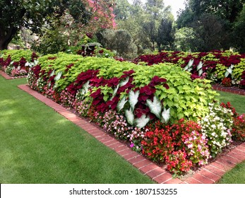 Beautiful landscaped gardens in mid-July at Arlington Antebellum Home and Gardens in Birmingham, Alabama