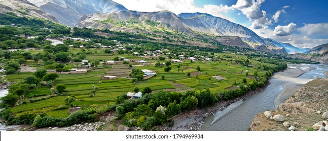 beautiful landscapes of Chitral, panoramic view of Ayun a green village in Khyber Pakhtunkhwa
