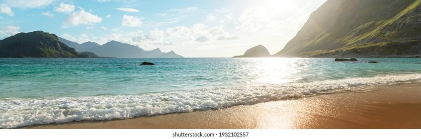 Beautiful landscapes in Lofoten islands, Northern Norway. Summer season. - Shutterstock ID 1932102557