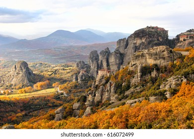 Beautiful landscapes and monasteries of Meteora in autumn, Kalambaka, Greece