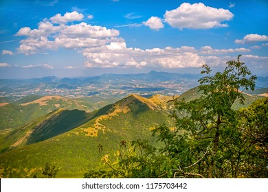 Beautiful landscapes of the mountains taken in the Apennines. Monte Cucco park at summer. Umbria, Italy.