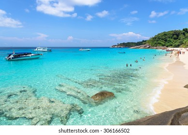 Beautiful landscapes of sky over the sea and tourists on beach in the summer at Koh Miang island is a attractions famous for diving in Mu Ko Similan National Park, Phang Nga Province, Thailand