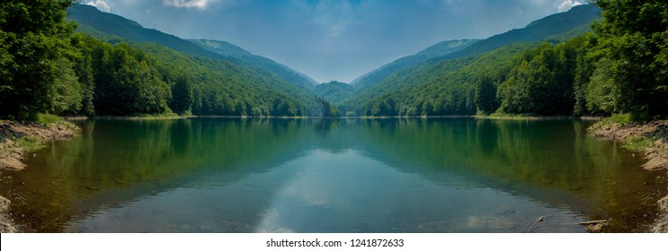Beautiful landscapes in the summer season, mountain lake and sunlight