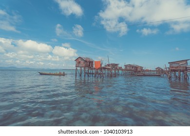 Beautiful landscapes view borneo sea gypsy water village in Omadal Island, Semporna Sabah, Malaysia. (Edit Version)