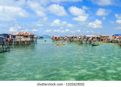 Beautiful landscapes view borneo sea gypsy water village in Omadal Island, Semporna Sabah, Malaysia.