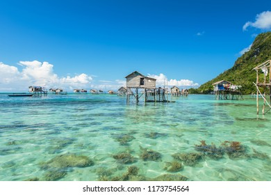 Beautiful landscapes view borneo sea gypsy water village in Bodgaya Island, Semporna Sabah, Malaysia.