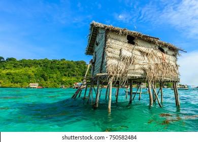 Beautiful landscapes view borneo sea gypsy water village in Bodgaya Mabul Island, Semporna Sabah, Malaysia.