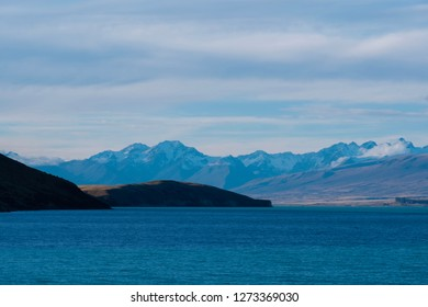 Beautiful landscapes view of Tekapo Lake at newzealand in the evening.
