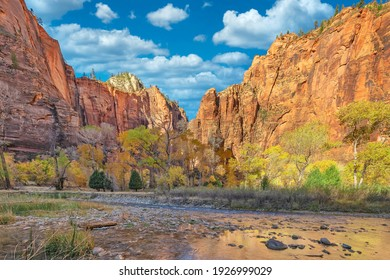 Beautiful landscapes, views of incredibly picturesque rocks, and mountains in Zion National Park, Utah, USA