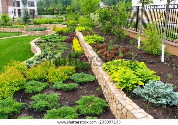 Beautiful Landscaping Home Garden Landscape Design Stock Photo