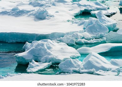 Beautiful landscpe of the Ice pieces on the water in Arctic