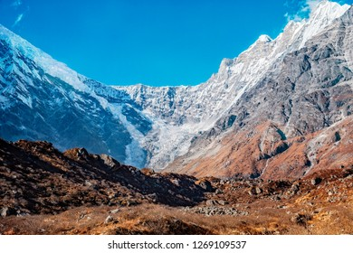 Beautiful Langtang Lirung glacier at Langtang Valley, Nepal