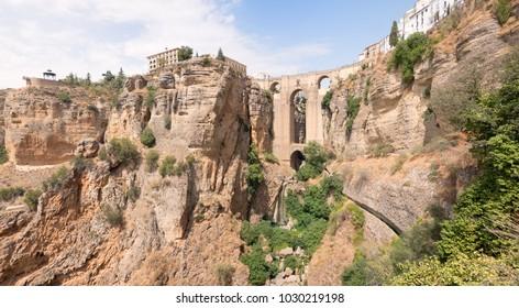 Beautiful lanscape with the Puente Nuevo bridge over Tajo Gorge in Ronda, Andalusia, Spain