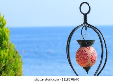 Beautiful lantern on the Mediterranean Sea in Kemer, Turkey