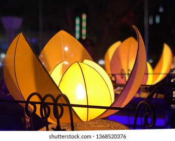 The beautiful lantern in the shape of Romdul flower (national flower of Cambodia. It's decorated with colorful to celebrate the Khmer new year, the largest religious ceremony in Cambodia.